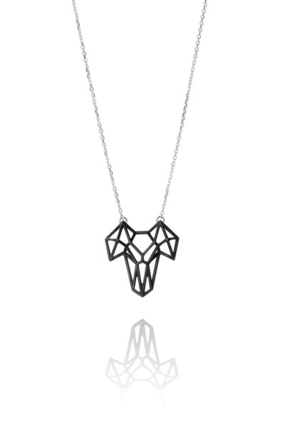 SEB Ram Black Oxidized Silver Necklace Icelandic Fashion Jewellery Design Geometric