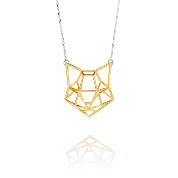 SEB Cat Face Gold Silver Domestic Animal Necklace Icelandic Fashion Jewellery Design Geometric Origami Style Jewelry