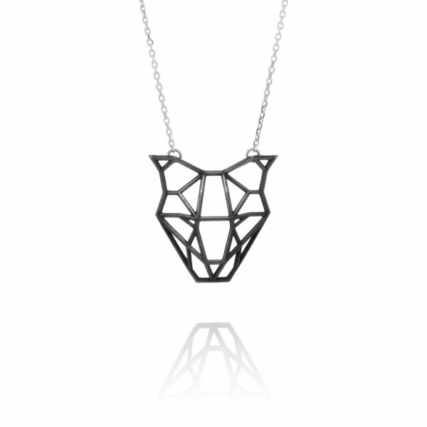 SEB Dog Head Face Black Silver Necklace Icelandic Fashion Jewellery Design Geometric Domestic Animal Scandinavian Jewelry