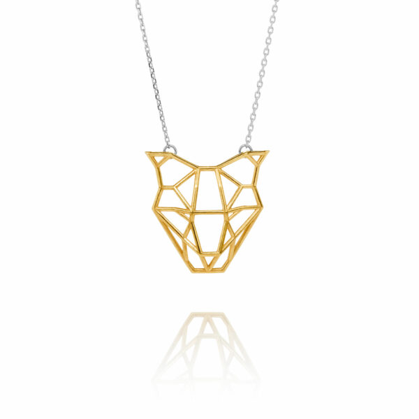 SEB Dog Head Face Gold Silver Necklace Icelandic Fashion Jewellery Design Geometric Domestic Animal Scandinavian Jewelry
