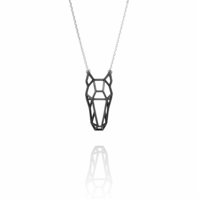 SEB Horse Head Face Black Silver Animal Necklace Icelandic Fashion Jewellery Design Geometric Scandinavian Style Jewelry