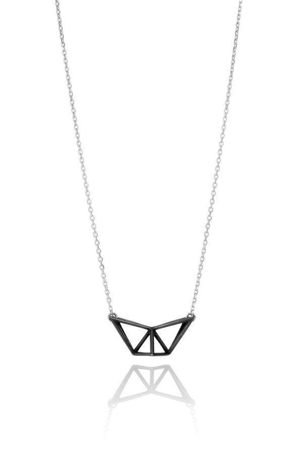 SEB Fly Black Oxidized Silver Necklace Icelandic Fashion Jewellery Design Geometric Simple