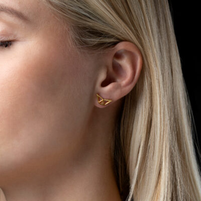 SEB Fly Gold Silver Stud Earrings Icelandic Fashion Jewellery Design Geometric Scandinavian Style Jewelry Stylish