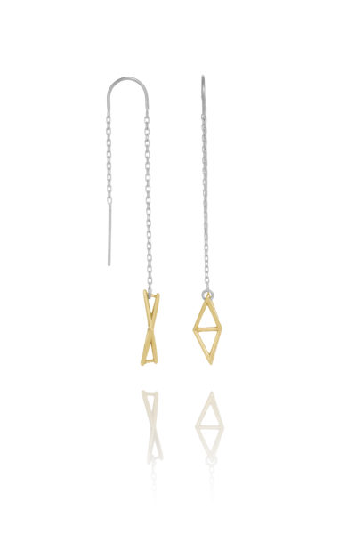 SEB Fly Gold Silver Thread Chain Earrings Icelandic Fashion Jewellery Design Geometric Simple