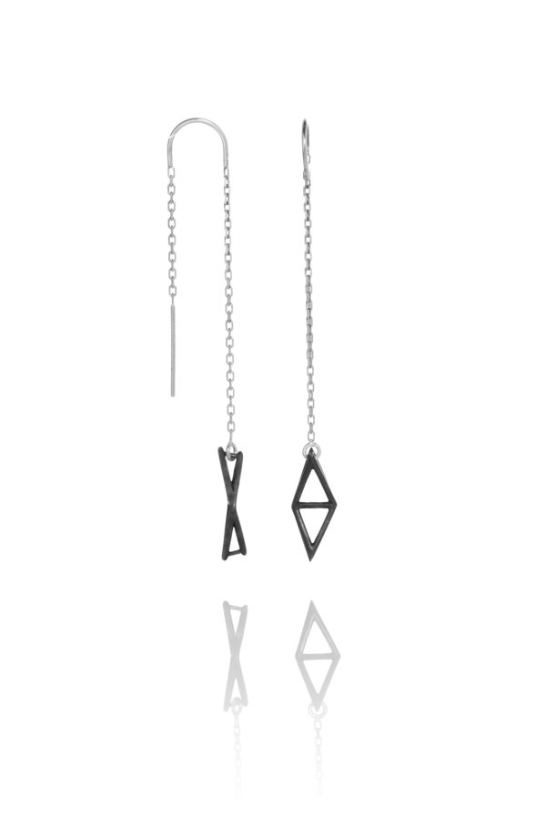 SEB Fly Black Oxidized Silver Thread Chain Earrings Icelandic Fashion Jewellery Design Geometric Simple