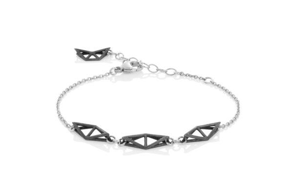 SEB Fly Black Oxidized Silver Chain Bracelet Icelandic Fashion Jewellery Design Geometric Simple