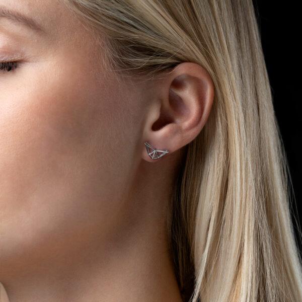 SEB Fly Silver Stud Earrings Icelandic Fashion Jewellery Design Geometric Scandinavian Style Jewelry Stylish