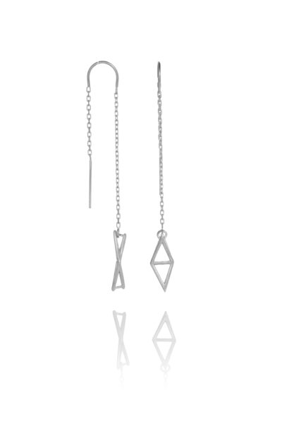 SEB Fly Silver Thread Chain Earrings Icelandic Fashion Jewellery Design Geometric Simple