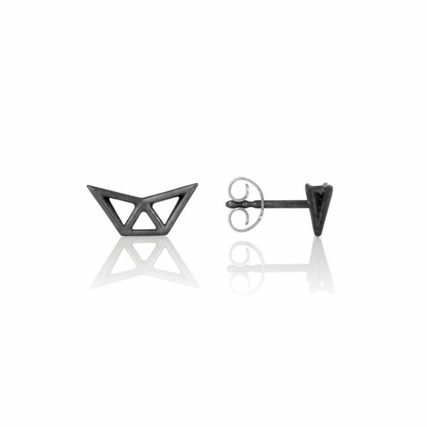SEB Fly Black Silver Stud Earrings Icelandic Fashion Jewellery Design Geometric Scandinavian Style Jewelry Stylish
