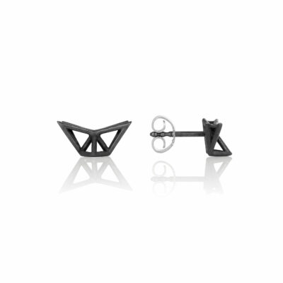 SEB Fly Black Silver Stud Earrings Icelandic Fashion Jewellery Design Geometric Scandinavian Style Jewelry Stylish