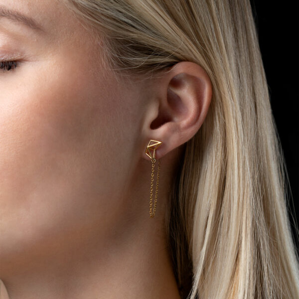 SEB Birds Gold Silver Stud Chain Earrings Icelandic Fashion Jewellery Design Geometric Scandinavian Style Jewelry