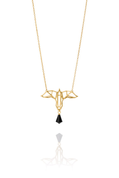 SEB Raven Gold Silver Necklace Onyx Icelandic Fashion Jewellery Design Geometric