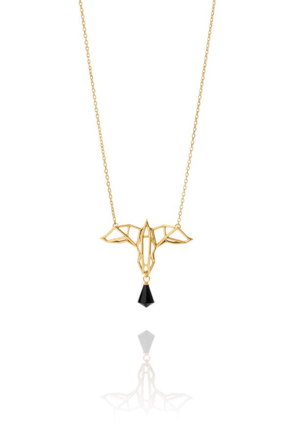 SEB Raven Gold Silver Necklace Onyx Icelandic Fashion Jewellery Design Geometric