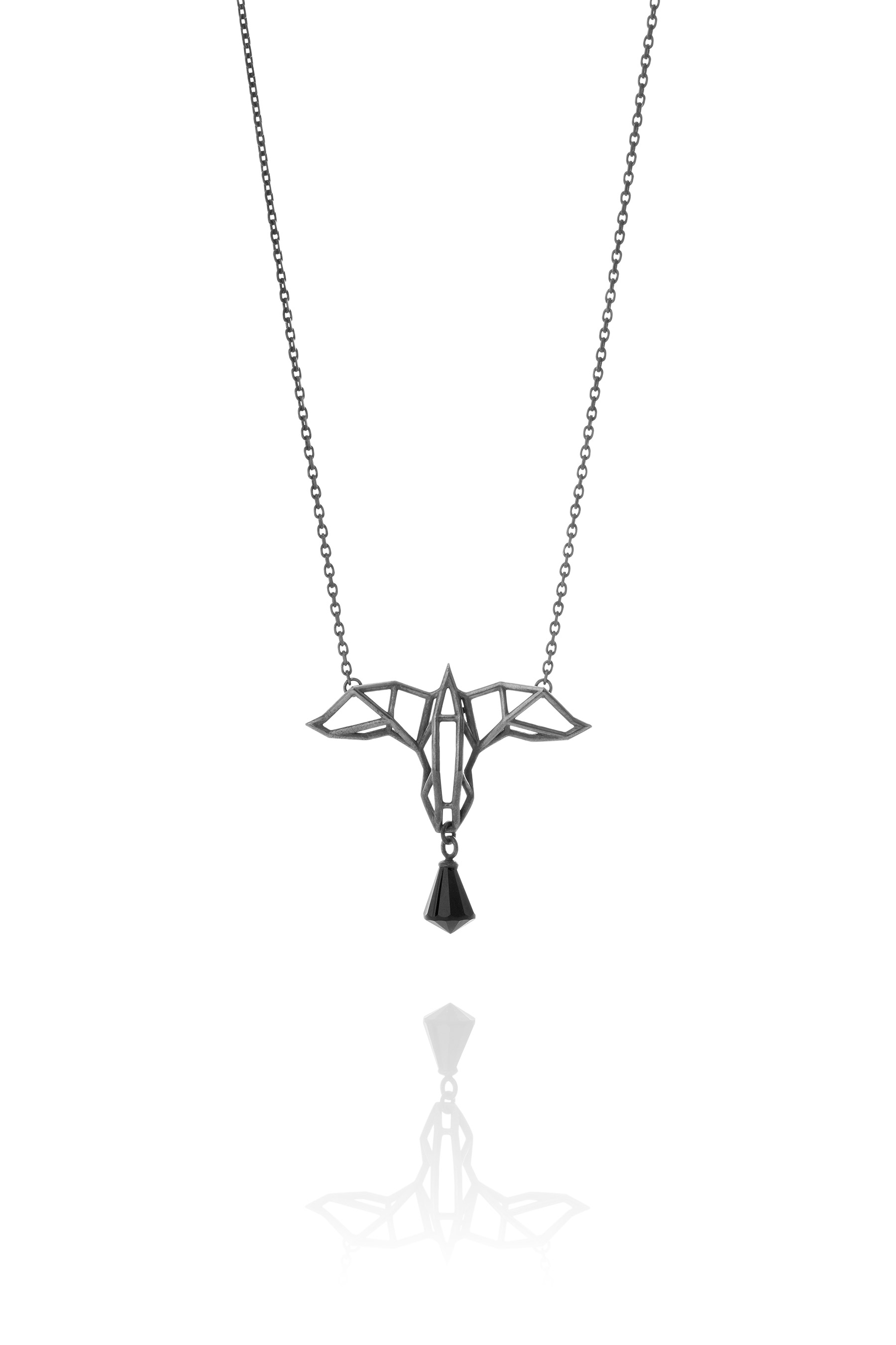 silver necklace necklaces black en c jewellery rhodium in onyx