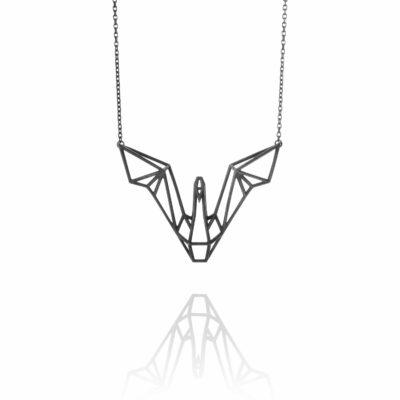 SEB Swan Wings Black Silver Necklace Icelandic Fashion Jewellery Design Geometric Scandinavian Love
