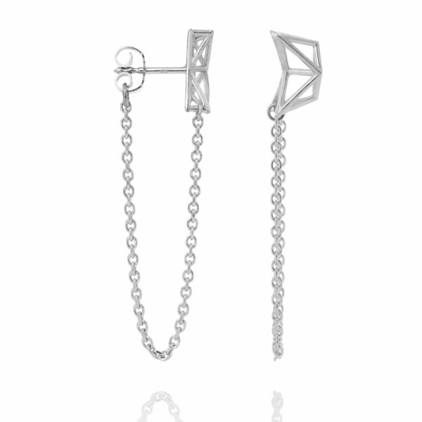 SEB Birds Silver Stud Chain Earrings Icelandic Fashion Jewellery Design Geometric Scandinavian Style Jewelry