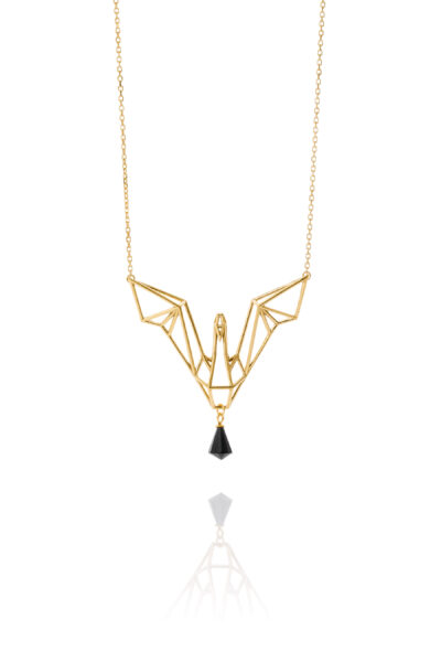 SEB Swan Gold Silver Necklace Onyx Icelandic Fashion Jewellery Design Geometric Nordic Love