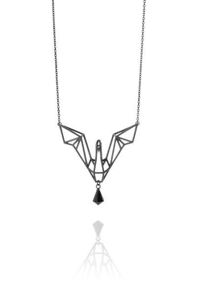 SEB Swan Black Oxidized Silver Necklace Onyx Icelandic Fashion Jewellery Design Geometric Nordic Love