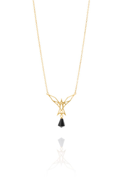 SEB Arctic Tern Gold Silver Necklace Onyx Icelandic Fashion Jewellery Design Geometric
