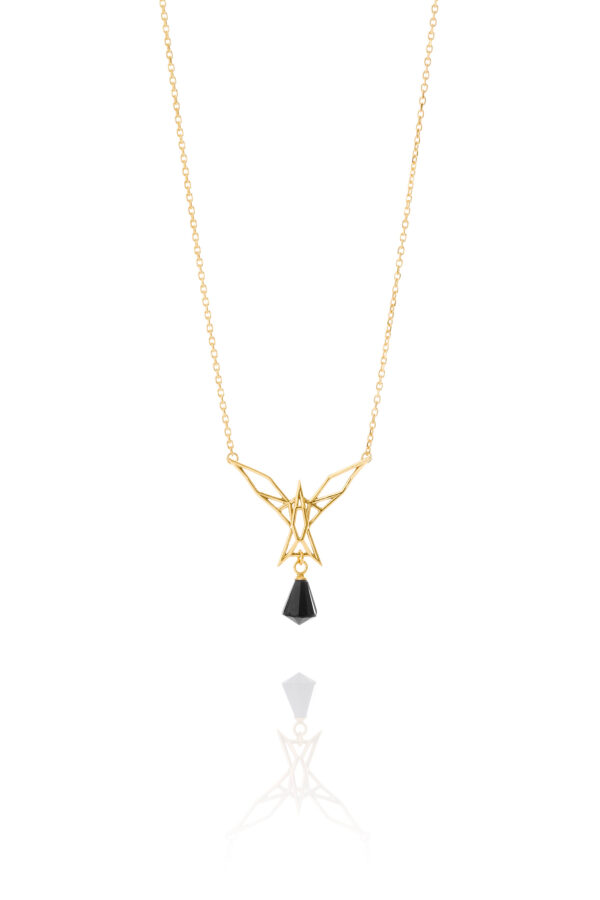 SEB Arctic Tern Gold Silver Necklace Onyx Icelandic Fashion Jewellery Design Geometric