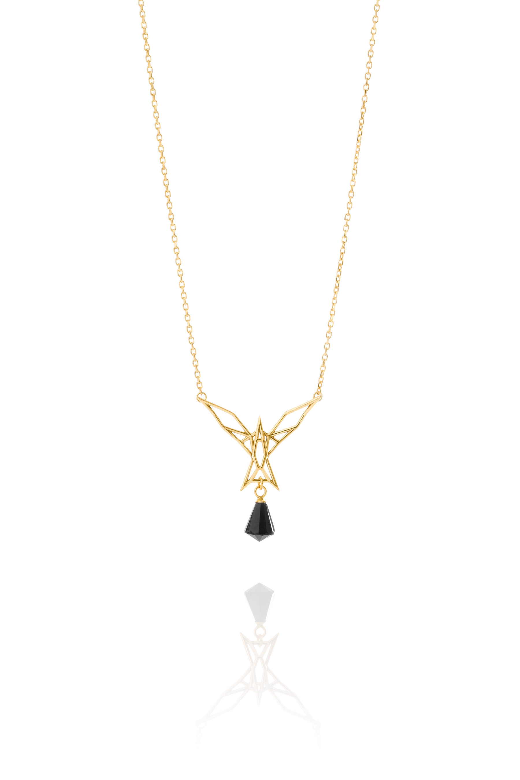 diamond pendant onyx gold expertissim and chain white