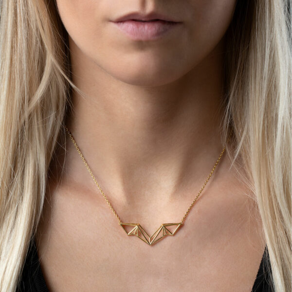 SEB Wings Gold Silver Necklace Icelandic Fashion Jewellery Design Geometric Scandinavian Style Elegant