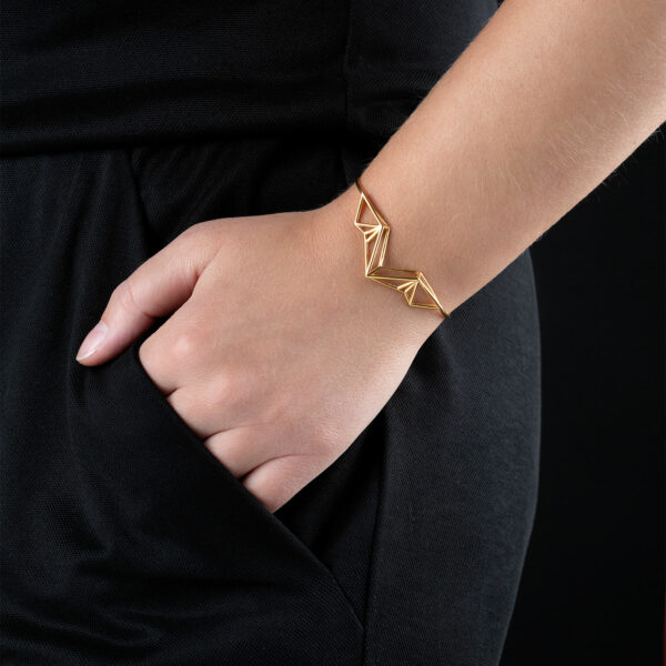 SEB Wings Gold Silver Cuff Bracelet Icelandic Fashion Jewellery Design Geometric Nordic Style Jewelry