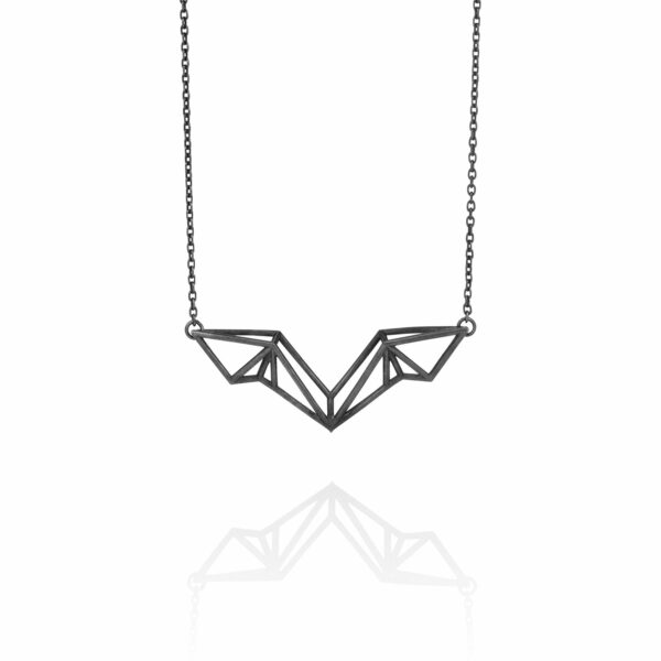SEB Wings Black Silver Necklace Icelandic Fashion Jewellery Design Geometric Scandinavian Style Elegant