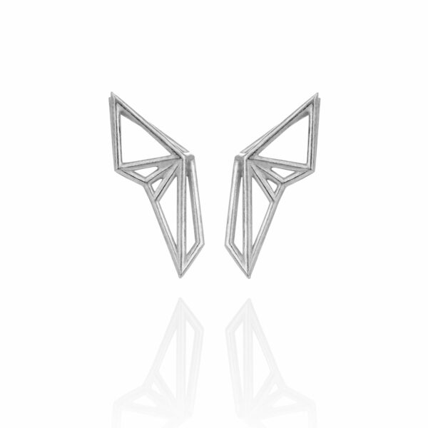 SEB Wings Silver Stud Earrings Icelandic Fashion Jewellery Design Geometric Scandinavian Style Elegant