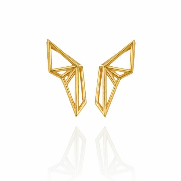 SEB Wings Gold Silver Stud Earrings Icelandic Fashion Jewellery Design Geometric Scandinavian Style Elegant