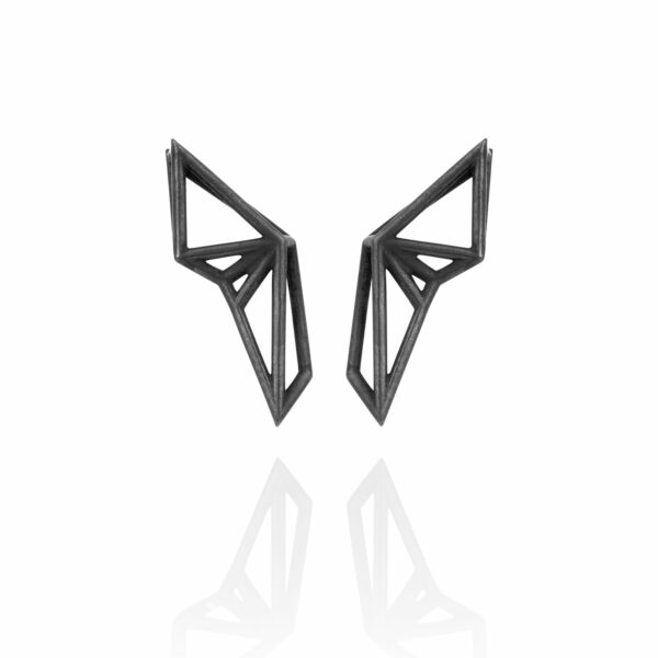 SEB Wings Black Silver Stud Earrings Icelandic Fashion Jewellery Design Geometric Scandinavian Style Elegant