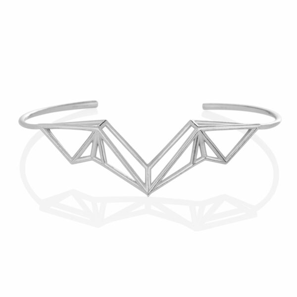 SEB Wings Silver Cuff Bracelet Icelandic Fashion Jewellery Design Geometric Nordic Style Jewelry
