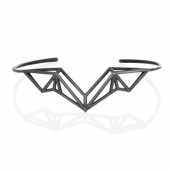 SEB Wings Black Oxidized Silver Cuff Bracelet Icelandic Fashion Jewellery Design Geometric Nordic Style Jewelry