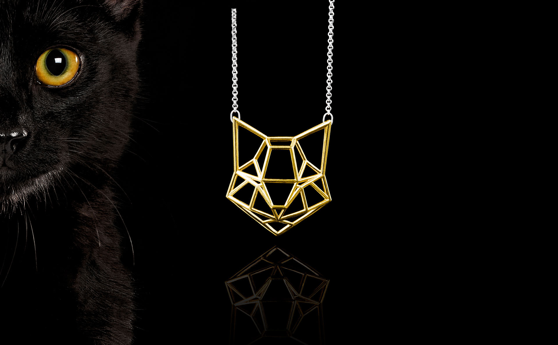 Cat Face Black Gold Silver Domestic Animal Necklace Icelandic Fashion Jewellery Design Geometric Scandinavian Jewelry