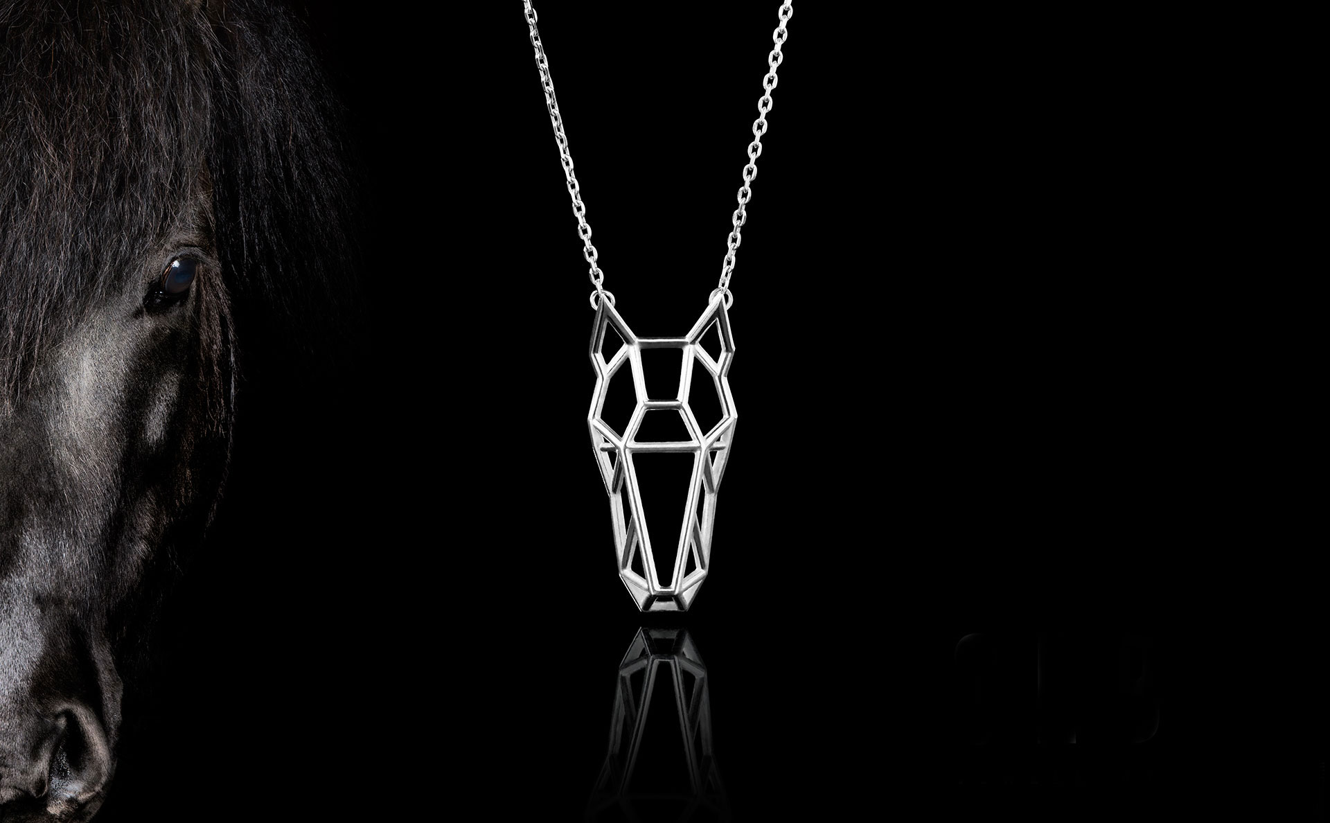 SEB Horse Face Head Black Silver Animal Necklace Icelandic Fashion Jewellery Design Geometric Scandinavian Style Jewelry
