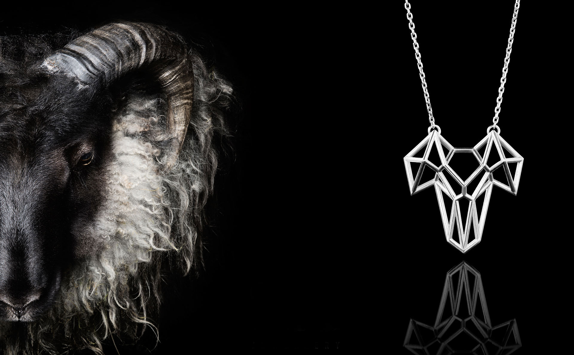 SEB Black Grey Wool Ram Head Face Icelandic Silver Animal Necklace Jewellery Geometric Design Nordic
