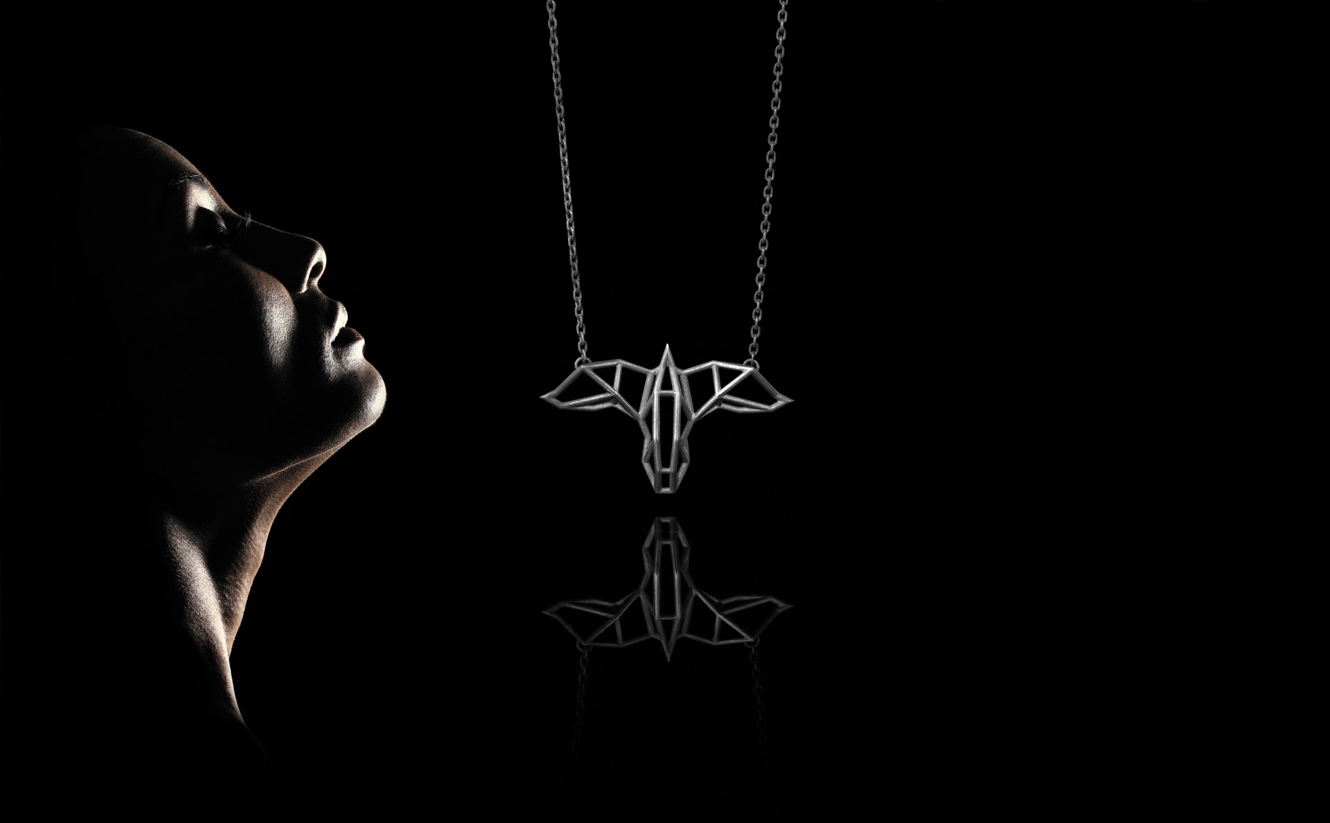 SEB Raven Black Silver Necklace Icelandic Fashion Jewellery Design Geometric Scandinavian Mysterious Nordic Mythology