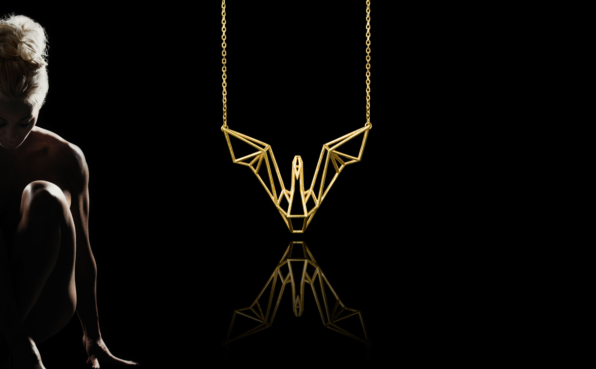 SEB Gold Silver Swan Bird Necklace Icelandic Jewellery Geometric Design Black Nordic Love Elegant