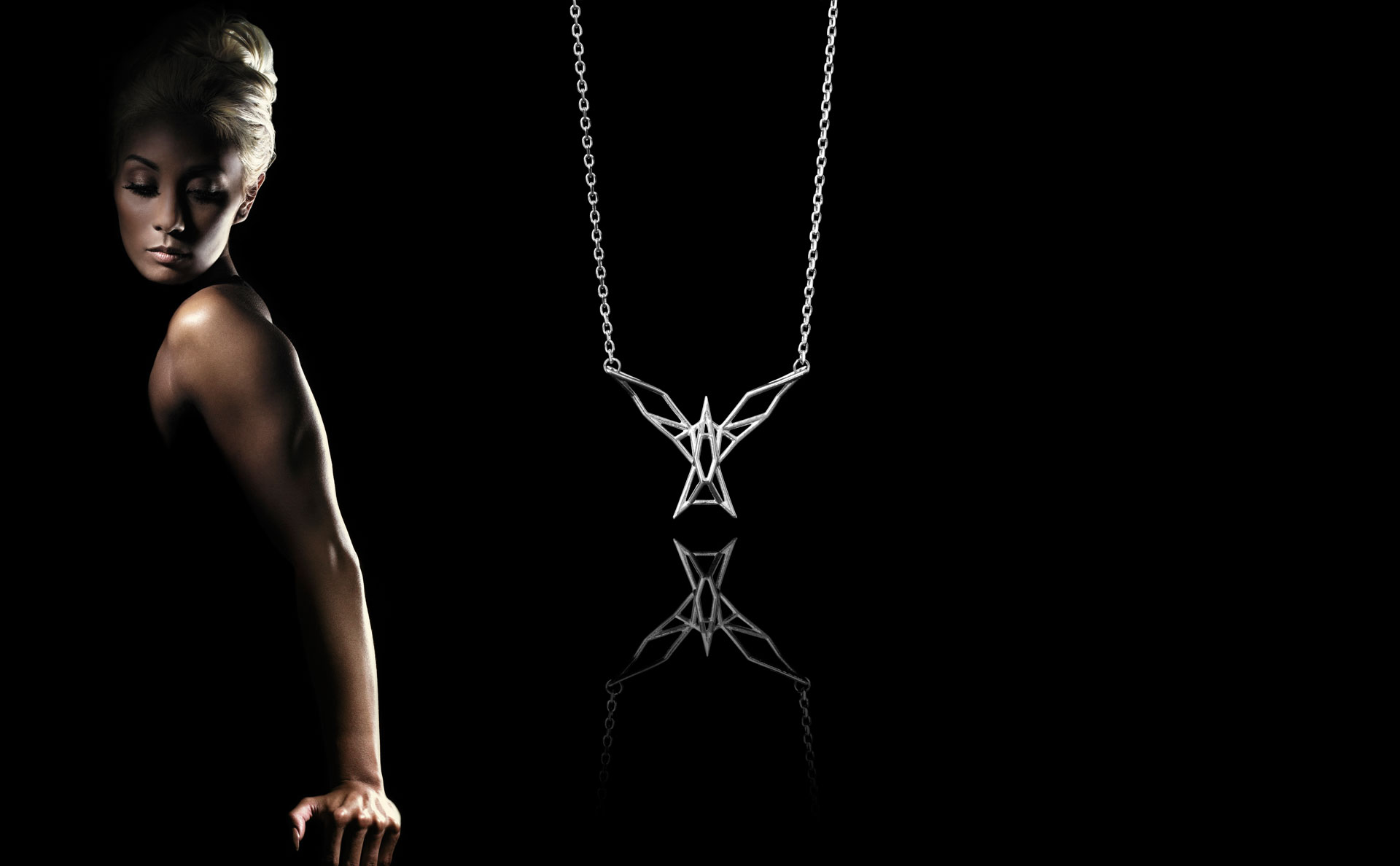 SEB Silver Artic Tern Bird Necklace Icelandic Jewellery Geometric Design Black Scandinavian Elegant